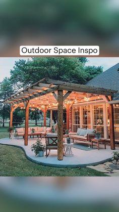 Backyard Patio Designs, Backyard Pergola, Pool And Patio, Pergula Patio, Backyard Landscape Design, Backyard Porch Ideas, Backyard Landscaping, Back Yard Patio Ideas, Inexpensive Backyard Ideas