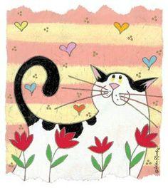 Pleasure Seeker by Helen Rhodes - Katzen I Love Cats, Crazy Cats, Cute Cats, Art Fantaisiste, Cat Quilt, Cat Crafts, Cat Drawing, Whimsical Art, Rock Art