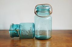 Set of 2 Turquoise Blue #BallIdeal Mason Canning Jars, Quart and Pint Size, Gold Brass Tone Wire Bales - SOLD! :)