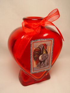 Rooster Advert Clarks Spool Cotton Mixed Media Valentine's Day Gift Love Heart Red Glass Flower Bud Vase Jar Vintage Paper Cigarette Card