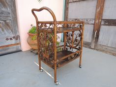 Hollywood Regency Style Bamboo or Rattan Bar Cart  by HouseCandyLA, $150.00