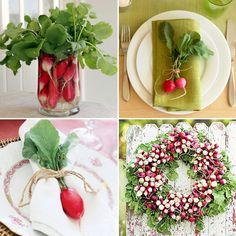 Decorating with radishes, wedding or event inspired by the farmers market. Love! From TheKitchn.com