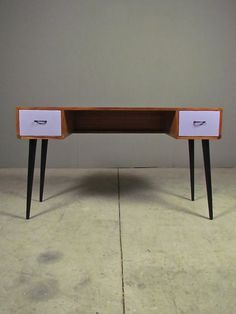 the perfect desk: mid century styling at a contemporary scale  crane console | Redinfred