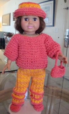 """FREE KNIT pattern - Ladyfingers - AG doll - Long Pants with Crease and Easy """"Boxy"""" Sweater knitting pattern Knitting Dolls Clothes, Crochet Doll Clothes, Sewing Dolls, Knitted Dolls, Ag Dolls, Girl Dolls, Doll Patterns Free, Doll Dress Patterns, Crochet Patterns"""