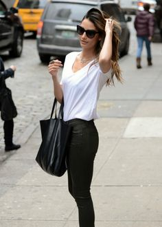 Lily Aldridge, leather, street style, casual chic