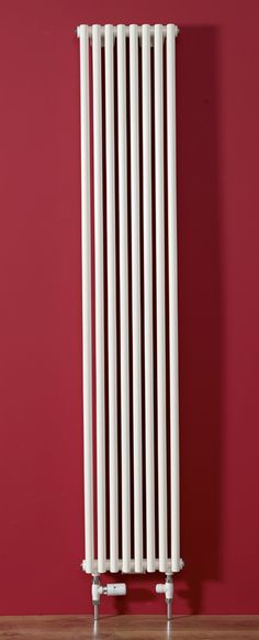 Volcano Slim radiator - only 320mm wide including valves with a heat output of 6879 BTUs.