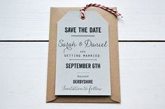 Simple, typographic handmade Wedding Save the Date Luggage Tag.