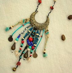 Boho beaded necklace hippie blue and red  от MammaEarthCreations, $58.00