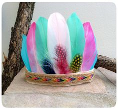 Tribal Boho Girl Feather Crown Wild One Feather Headdress Indian Birthday Parties, Wild One Birthday Party, Birthday Ideas, Feather Crown, Feather Headdress, Diy For Kids, Crafts For Kids, Indian Theme, Feather Crafts