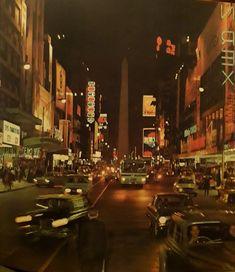 Vista nocturna de la avenida Corrientes. 1970. Times Square, Travel, Nocturne, Gift, Cities, Pictures, Viajes, Destinations, Traveling
