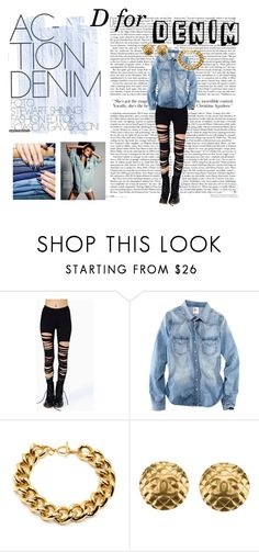 """""""D is for Denim"""" by anastasiaralph ❤ liked on Polyvore featuring H&M, Ben-Amun, Chanel and Nails Inc."""