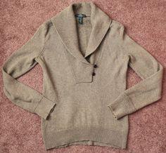 Women's LAUREN RL Small S Long Sleeve Cowl Neck 2 Button Sweater Brown Green #LaurenRalphLauren #CowlNeck