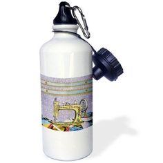 3dRose Vintage Flowered Yellow Sewing Machine with Colorful Quilt, Sports Water Bottle, 21oz, White