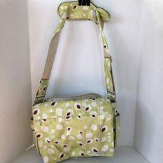 Ju Ju Be Better Be Diaper Bag Changing Pad Crossbody Strap Lime Green Brown Rare