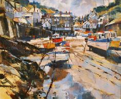 Port Isaac, July Morning, Type: Acrylic, Size: 20 x 24 inches Watercolor Landscape, Watercolour Paintings, Pastel Paintings, Acrylic Paintings, Watercolours, Oil Paintings, Port Isaac, Painting Courses, Cityscape Art