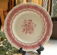 English Pink Red Transferware Shabby Roses Cottage Plate