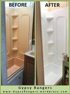 Camper Renovation 682013937302116089 - RV Bathroom Updates: Shower/Tub Refinishing – Gypsy Rangers Source by Kombi Motorhome, Rv Campers, Camper Trailers, Happy Campers, Douche Camping Car, Tub Refinishing, Camper Bathroom, Camper Kitchen, Boy Scouting