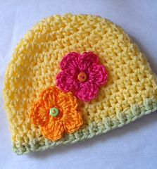 """May Flowers"" Again Crochet Baby Hat ~ free pattern Sizes: Newborn to Teen/adult"