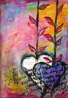 Art Journal Page (hearts)