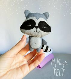 Ornament felt Raccoon cute nursery Woodland decor by MyMagicFelt