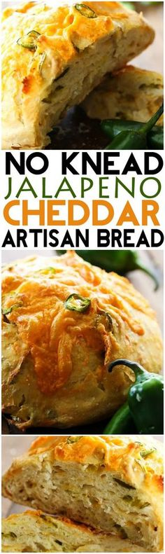No-Knead Jalapeño Cheddar Artisan Bread... This bread is FOOL PROOF! It has a crunchy crisp crust with a soft center and has a delicious kick to it!