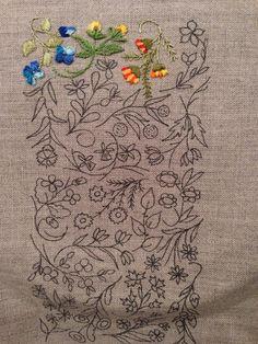 Mille Fleurs - Progress 3 satin stitch, straight stitch, stem stitch and fly stitch.