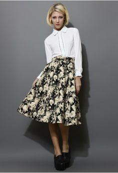 Retro Floral Print Midi Skirt