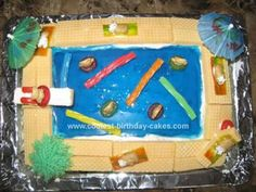 Homemade Swimming Pool Cake: I got the idea to make this Swimming Pool Cake from this website. I used different tips and ideas from various cakes on the site. I also watched the video