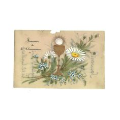Hand Painted Celluloid OOAK Postcard, French Antique 1st Communion One-of-a-kind Card, Green White Daisy Flower, Chalice