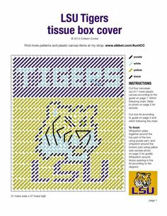 Ideas basket ball jersey pattern cross stitch for 2019 Plastic Canvas Stitches, Plastic Canvas Tissue Boxes, Plastic Canvas Crafts, Plastic Canvas Patterns, Crochet Skull Patterns, Football Crafts, Tissue Box Covers, Tissue Holders, Lsu Tigers