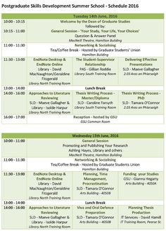pg summer school 2016 programme of events