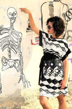 Kimono Dress black and white pattern by lilybrush on Etsy, $95.00