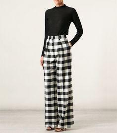 MSGM Checked Wide Leg Trouser in Black   White Γυναικεία Μόδα 7db18c7ca78