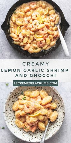 Creamy Lemon Garlic Shrimp and Gnocchi is a dish you might feel like you don't deserve, but oh, boy you do! delicious dinner ready in just 30 minutes! Appetizers For A Crowd, Seafood Appetizers, Seafood Recipes, Appetizer Recipes, Seafood Pasta, Pasta Food, Food Food, Shrimp Gnocchi Recipe, Gnocchi Recipes
