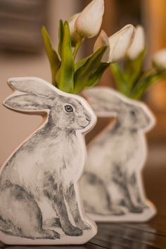 Bunny Vase ($14) with Tulips ($4 each)