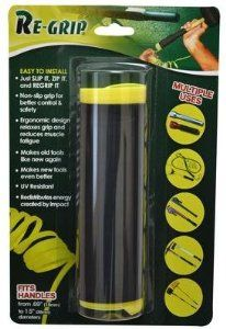 ReGrip 44-7 by Re-Grip. $12.99. RE-GRIP is a revolutionary new way to add a comfortable and durable grip to just about any tool or handle.  RE-GRIP provides a method of improving a handle grip by adding mechanical and environmental protection when installed on a variety of cylindrical and semi-cylindrical objects such as: hand tools, garden tools, sports equipment, handle bars, wheelbarrows, levers, and much more.  By easily installing this simple grip you will add not only ...