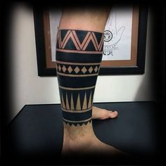 Mens Lower Leg Sleeve Tribal Negative Space Tattoo Designs