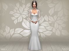 Wedding dress - Cynthia 2 for The Sims 4 by BEO Sims 4 Wedding Dress, Weeding Dress, Long Wedding Dresses, Butterfly Wedding Dress, Poses, Sims 4 Cc Kids Clothing, Sims 4 Dresses, Sims4 Clothes, White Ball Gowns