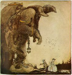John Bauer's Bland Tomtar Och Troll (Among Elves and Trolls), He was so clever depicting size and proportions John Bauer, Children's Book Illustration, Mythical Creatures, Art Images, Illustrators, Folk Art, Fantasy Art, Scandinavian, Fairy Tales