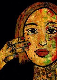"Saatchi Art Artist CARMEN LUNA; Painting, ""8-RETRATOS Expresionistas. Maria."" #art http://www.saatchiart.com/art-collection/Painting-Assemblage-Collage/Expressionist-Portrait/71968/51263/view"
