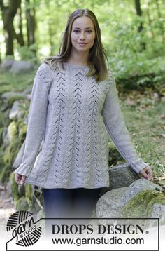 Jumper with lace pattern, worked top down in A-shape. Size: S - XXXL Piece is knitted in DROPS Karisma. Free knitting pattern by DROPS Design. Sweater Knitting Patterns, Lace Knitting, Knitting Stitches, Knit Crochet, Drops Design, Drops Patterns, Lace Patterns, Crochet Patterns, Tutorials