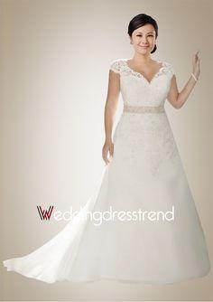 Graceful A-line Chapel Train Wedding Dress with Illusive Lace Applique