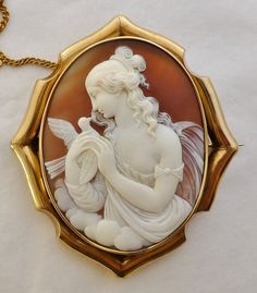 LARGE ANTIQUE SHELL CAMEO 9K GOLD BROOCH - GODDESS WITH BIRD | eBay