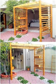 A much creative designing of the wood pallet has been finest done here that would make you fall in love with. This pallet project creation is all about the innovative entrance creation where the stacking of the pallet planks has been all done on mind-blowing custom work.