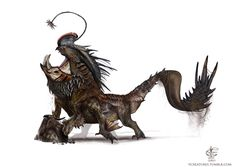 """vcreatures:  """" The Mountain Cavum dragon is a cumbersome beast. Using it's angler it sits and waits, luring in its prey. This stationary way of hunting will eventually become permanent. It would become completely immobile, submerged, with only it's..."""