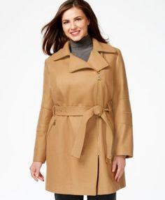 MICHAEL KORS Michael Michael Kors Plus Size Asymmetrical-Zip Belted Coat. #michaelkors #cloth # coats