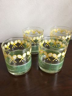 Set of 4 TENNIS Lowball Glasses with TENNIS RAQUETS & NET by J. SCOTT  | eBay