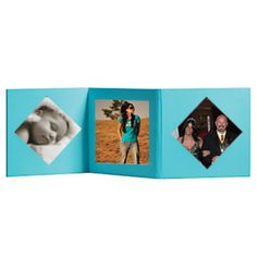 Cadre photo triptyque de couleur turquoise à personnaliser de vos plus belles photos souvenirs. Finitions cartonnées, 3 zones à personnaliser. #Cadre #Photo