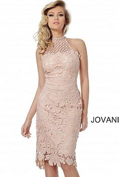Jovani 68747 Light pink lace cocktail dress with a high neckline, sleeveless fitted bodice and closed back, midi knee-length fitted skirt with a sheer end. Knee Length Cocktail Dress, Short Cocktail Dress, Evening Dresses, Prom Dresses, Wedding Dresses, Plus Size Gowns, Short Gowns, Types Of Dresses, Pink Lace