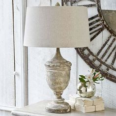 French country style retro lamp cup antique wood bedroom bedside lamp room elegant old lamp